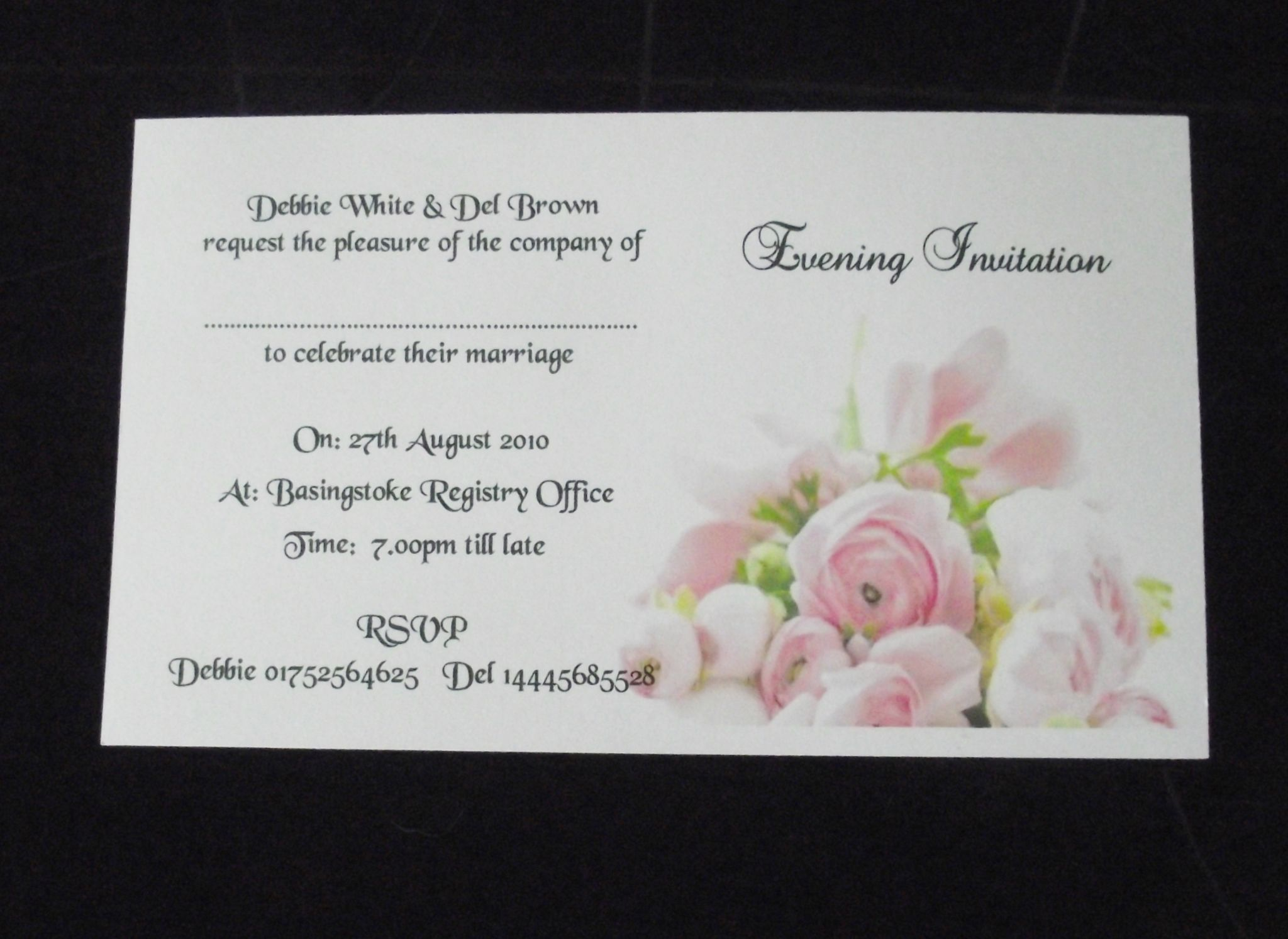 invitations Day or Evening Personalised Pink Rose Postcard Style